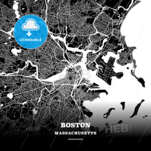 Black map poster template of Boston, Massachusetts - HEBSTREITS