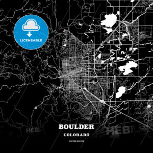 Black map poster template of Boulder, Colorado, USA - HEBSTREITS