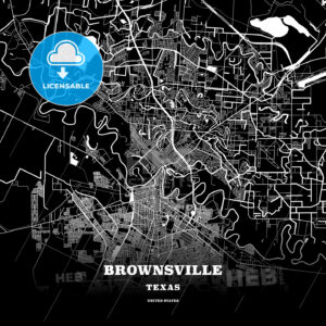 Black map poster template of Brownsville, Texas - HEBSTREITS