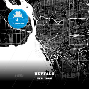 Black map poster template of Buffalo, New York - HEBSTREITS