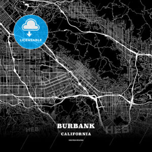 Black map poster template of Burbank, California - HEBSTREITS