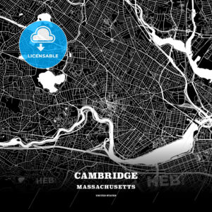 Black map poster template of Cambridge, Massachusetts, USA - HEBSTREITS