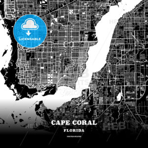 Black map poster template of Cape Coral, Florida - HEBSTREITS