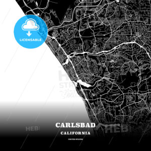 Black map poster template of Carlsbad, California, USA - HEBSTREITS