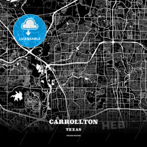 Black map poster template of Carrollton, Texas - HEBSTREITS