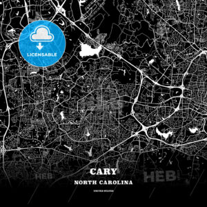 Black map poster template of Cary, North Carolina - HEBSTREITS