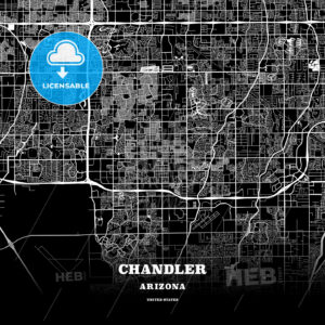 Black map poster template of Chandler, Arizona - HEBSTREITS