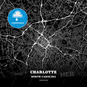 Black map poster template of Charlotte, North Carolina - HEBSTREITS