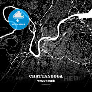 Black map poster template of Chattanooga, Tennessee - HEBSTREITS