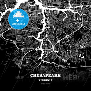 Black map poster template of Chesapeake, Virginia - HEBSTREITS