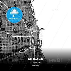 Black map poster template of Chicago, Illinois - HEBSTREITS