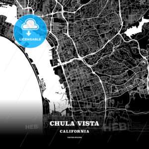 Black map poster template of Chula Vista, California - HEBSTREITS