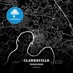 Black map poster template of Clarksville, Tennessee - HEBSTREITS