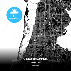 Black map poster template of Clearwater, Florida, USA - HEBSTREITS
