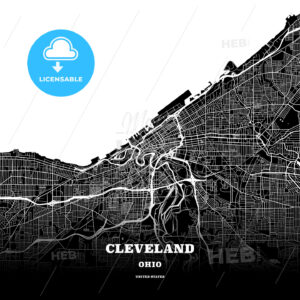 Black map poster template of Cleveland, Ohio - HEBSTREITS