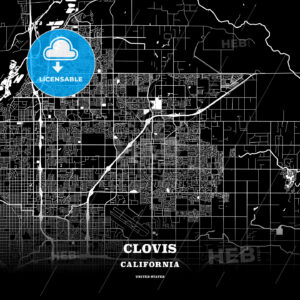 Black map poster template of Clovis, California, USA - HEBSTREITS