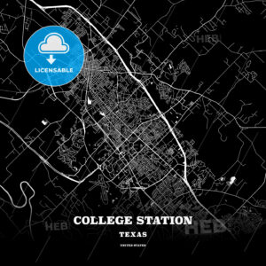Black map poster template of College Station, Texas, USA - HEBSTREITS