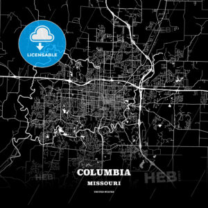 Black map poster template of Columbia, Missouri - HEBSTREITS