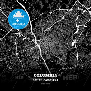 Black map poster template of Columbia, South Carolina - HEBSTREITS