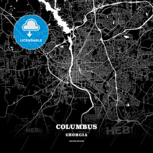 Black map poster template of Columbus, Georgia - HEBSTREITS