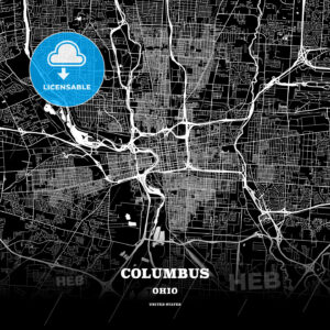 Black map poster template of Columbus, Ohio - HEBSTREITS