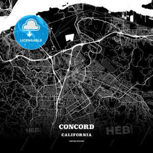 Black map poster template of Concord, California - HEBSTREITS