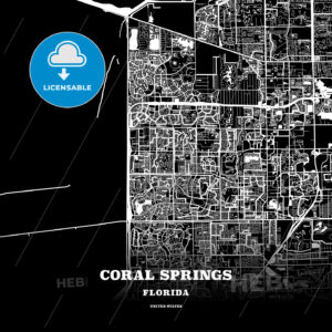 Black map poster template of Coral Springs, Florida - HEBSTREITS