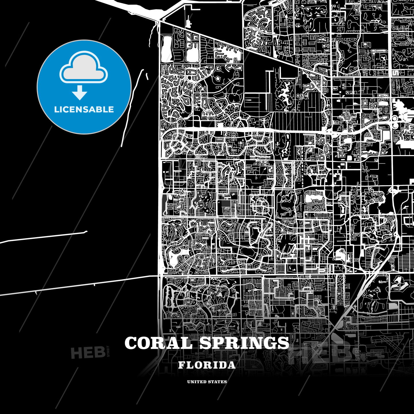 Black map poster template of Coral Springs Florida USA