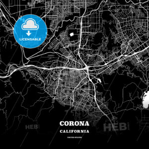 Black map poster template of Corona, California - HEBSTREITS