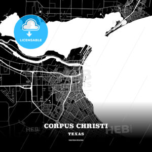 Black map poster template of Corpus Christi, Texas - HEBSTREITS
