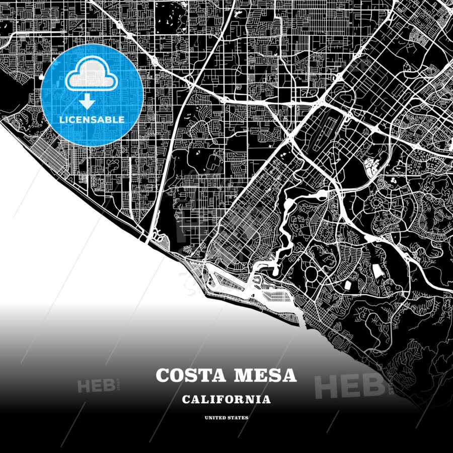Black map poster template of Costa Mesa, California, USA - HEBSTREITS