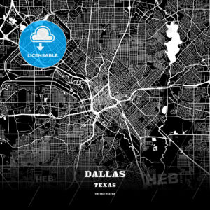 Black map poster template of Dallas, Texas - HEBSTREITS