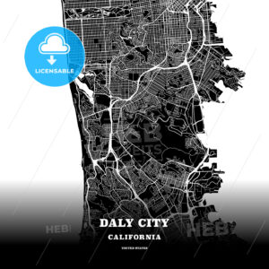 Black map poster template of Daly City, California, USA - HEBSTREITS