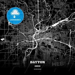 Black map poster template of Dayton, Ohio, USA - HEBSTREITS