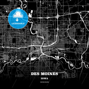 Black map poster template of Des Moines, Iowa - HEBSTREITS