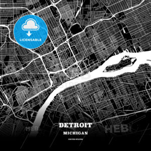 Black map poster template of Detroit, Michigan - HEBSTREITS