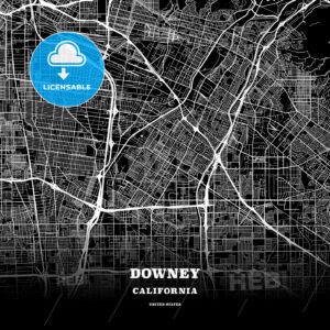 Black map poster template of Downey, California, USA - HEBSTREITS