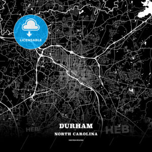 Black map poster template of Durham, North Carolina - HEBSTREITS