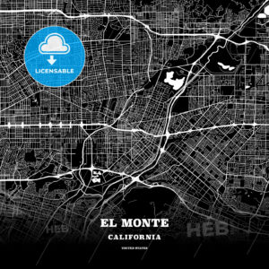 Black map poster template of El Monte, California, USA - HEBSTREITS