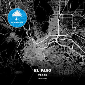 Black map poster template of El Paso, Texas - HEBSTREITS