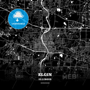 Black map poster template of Elgin, Illinois, USA - HEBSTREITS
