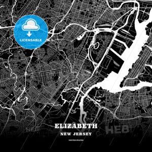 Black map poster template of Elizabeth, New Jersey - HEBSTREITS