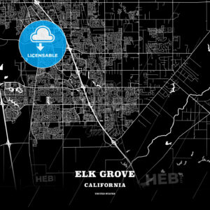 Black map poster template of Elk Grove, California - HEBSTREITS