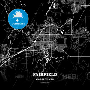 Black map poster template of Fairfield, California, USA - HEBSTREITS