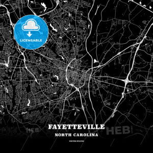Black map poster template of Fayetteville, North Carolina - HEBSTREITS