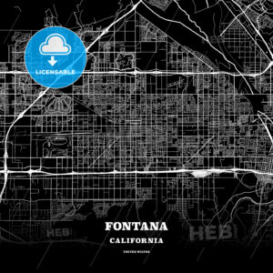Black map poster template of Fontana, California - HEBSTREITS