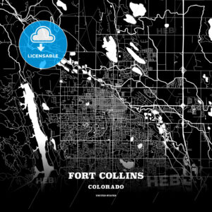 Black map poster template of Fort Collins, Colorado - HEBSTREITS
