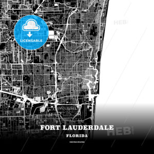 Black map poster template of Fort Lauderdale, Florida - HEBSTREITS
