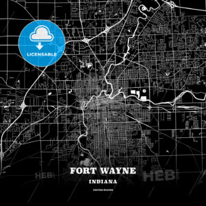 Black map poster template of Fort Wayne, Indiana - HEBSTREITS