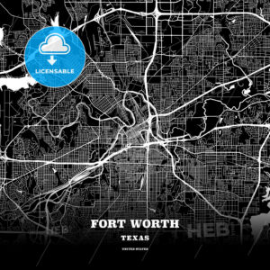 Black map poster template of Fort Worth, Texas - HEBSTREITS